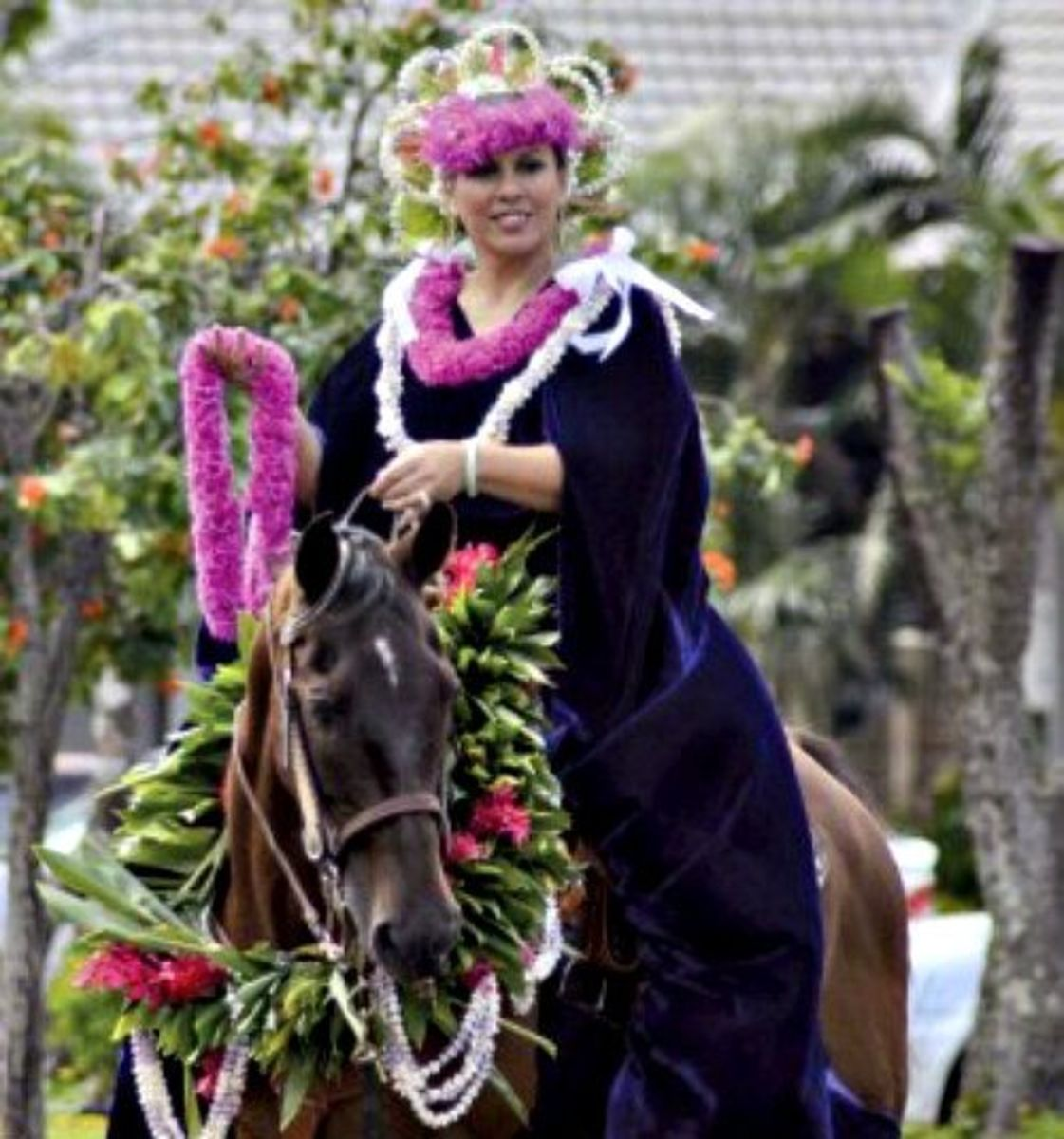 Pau Princess Rider Representing Island of Kauai in Kauai's King Kamehameha Day Parade