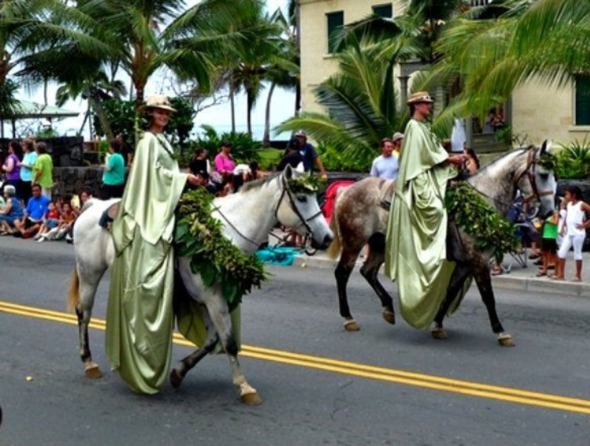Moloka'i Pa'u Attendant Riders in Honolulu's King Kamehameha Day Parade