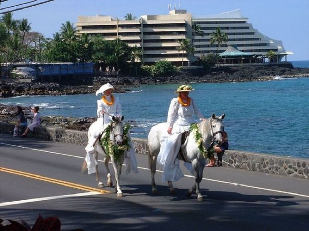 Daughters of Hawaii Riding their Horses in King Kamehameha Parade in Kailua-Kona