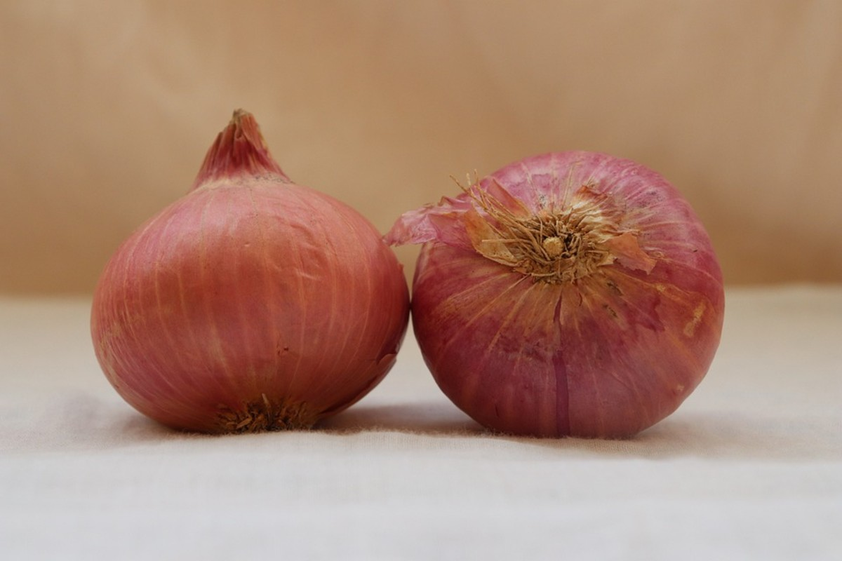 Slice red onions