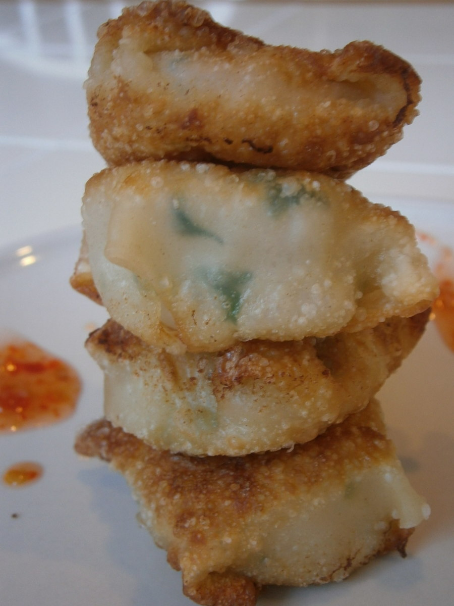 Shrimp wantons, stacked high for your eating pleasures.