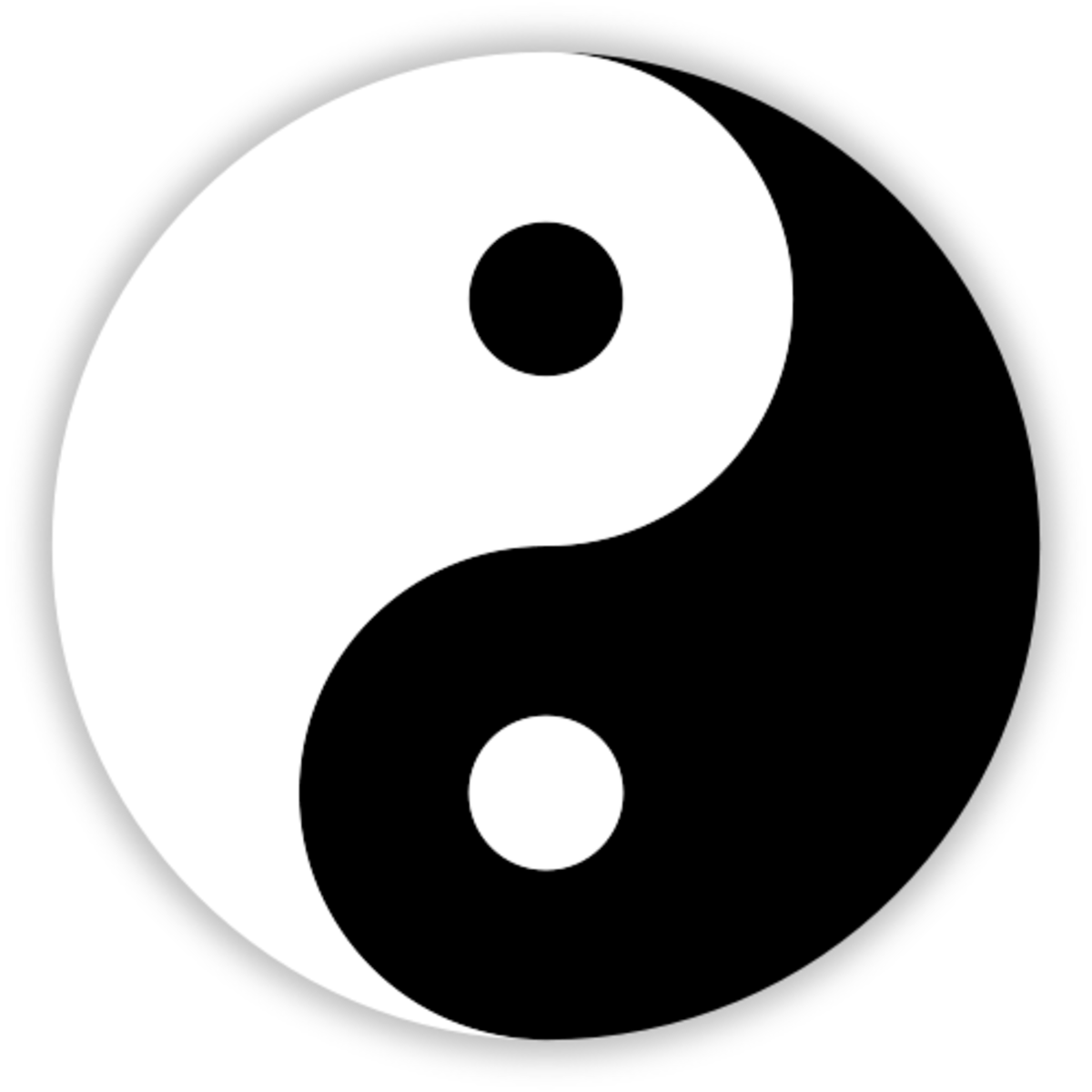 The 'Yin Yang' (which translates 'dark light') symbol that is used in Taoism. Taoism basically believes that opposites cannot exist without each other.