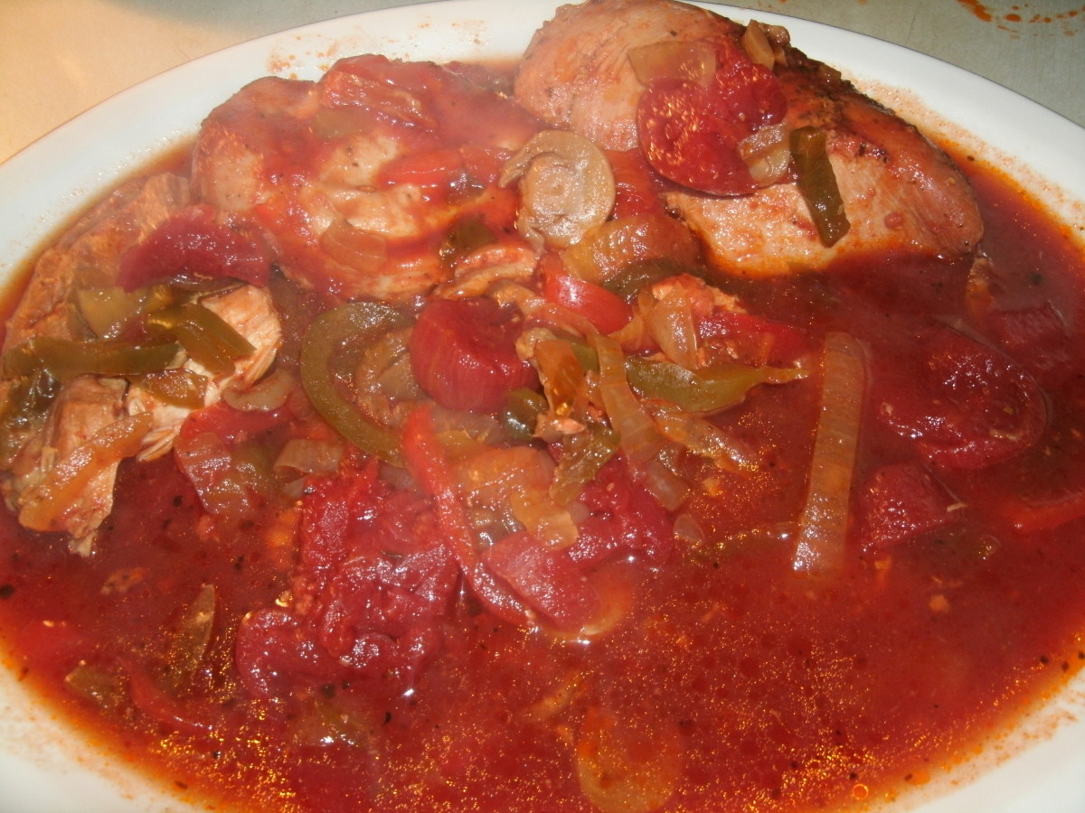 Chicken Cacciatore on a Serving Dish