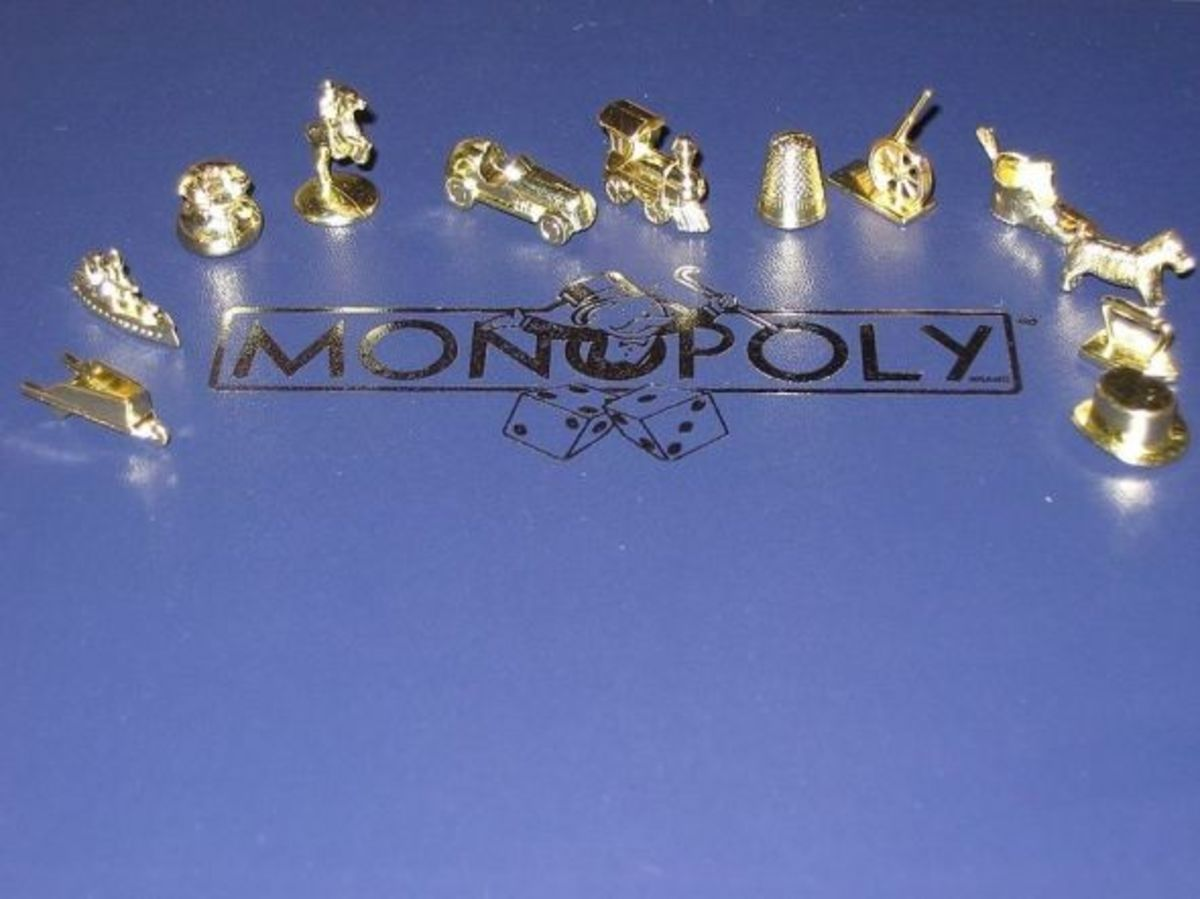 Deluxe Monopoly Tokens - People collect the playing tokens from different versions of the board game Monopoly.