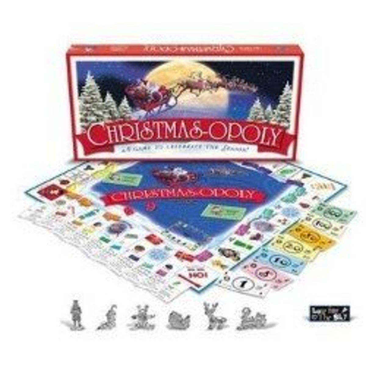 Christmas-Opoly, The Holiday Version Of Monopoly For Christmas Game Lovers.  Presents, Christmas Trees, Holly And Mistletoe Are Just The Beginning Of The Fun You Will Have With This Fun Christmas Game.  Photo is from Amazon.