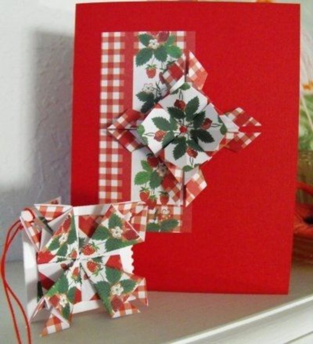 A Finished Note Card and Gift tag