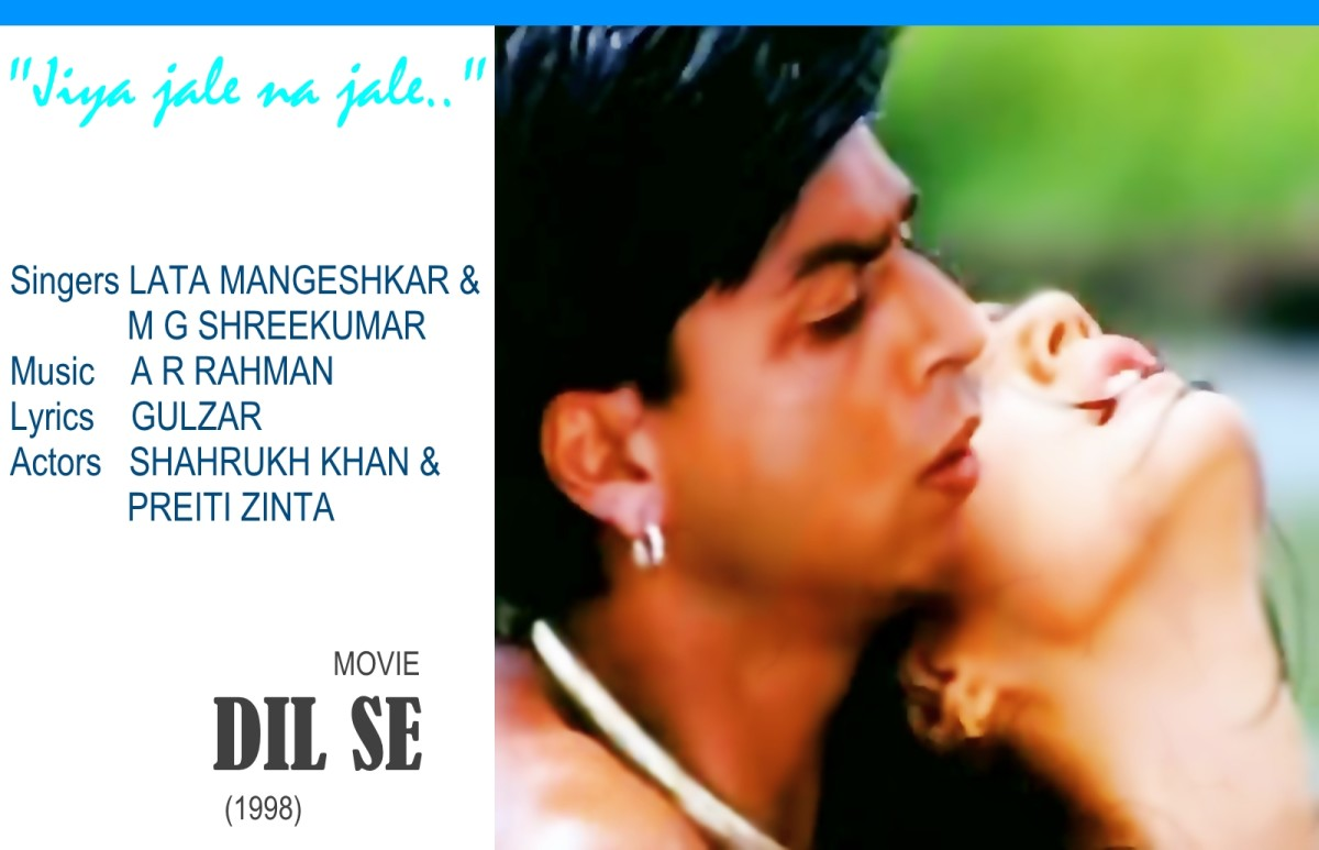 "Shahrukh Khan and Preiti Zinta in the song ""Jiya jale na jale.."" sung by Lata Mangeshkar and M G Shreekumar for the movie DIL SE (1998)"