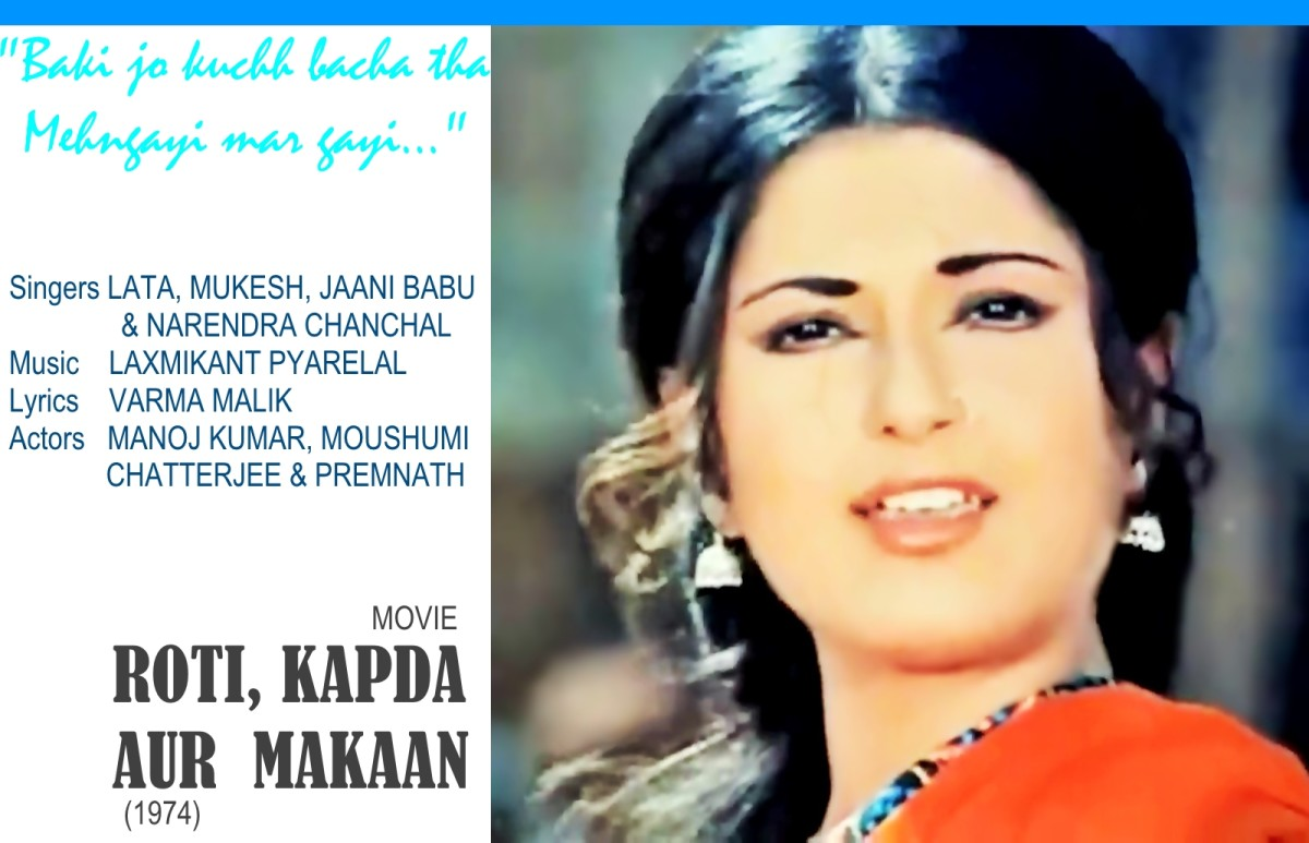 "Moushumi Chatterjee featured in the song, ""Baki kuchh bacha to mehngayi mar gayi"" from the movie ROTI KAPDA AUR MAKAAN."