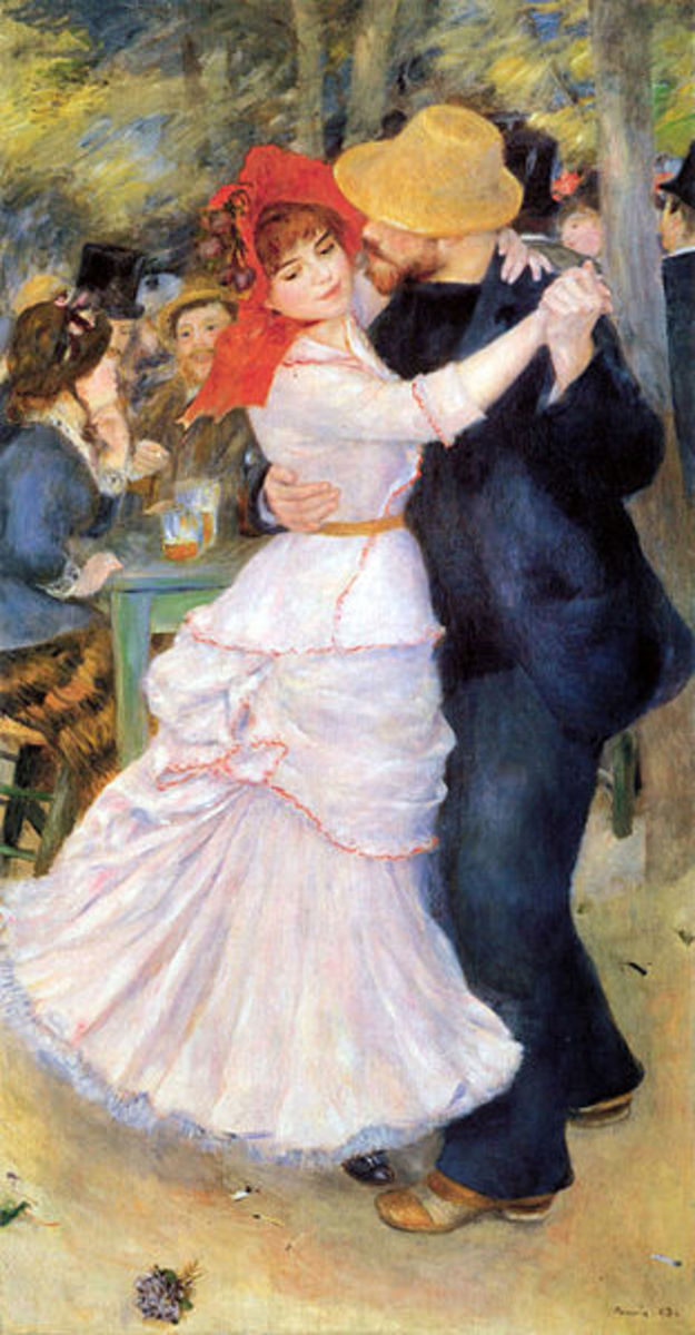 """Pierre-Auguste Renoir  painted """"Dance at Bougival"""" in 1882-1883. This image is in the public domain because its copyright has expired. The painting can be seen at the Museum of Fine Arts in Boston."""