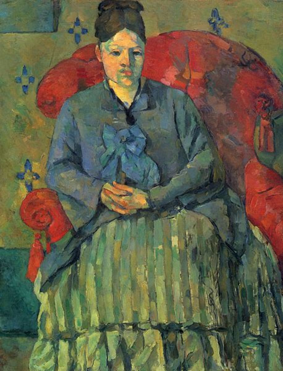 "Paul Cezanne painted ""Madame Cezanne in a Red Armchair"" in 1877. The painting is in the collection of the Museum of Fine Arts in Boston. The work of art depicted in this image and the reproduction thereof are in the public domain worldwide."