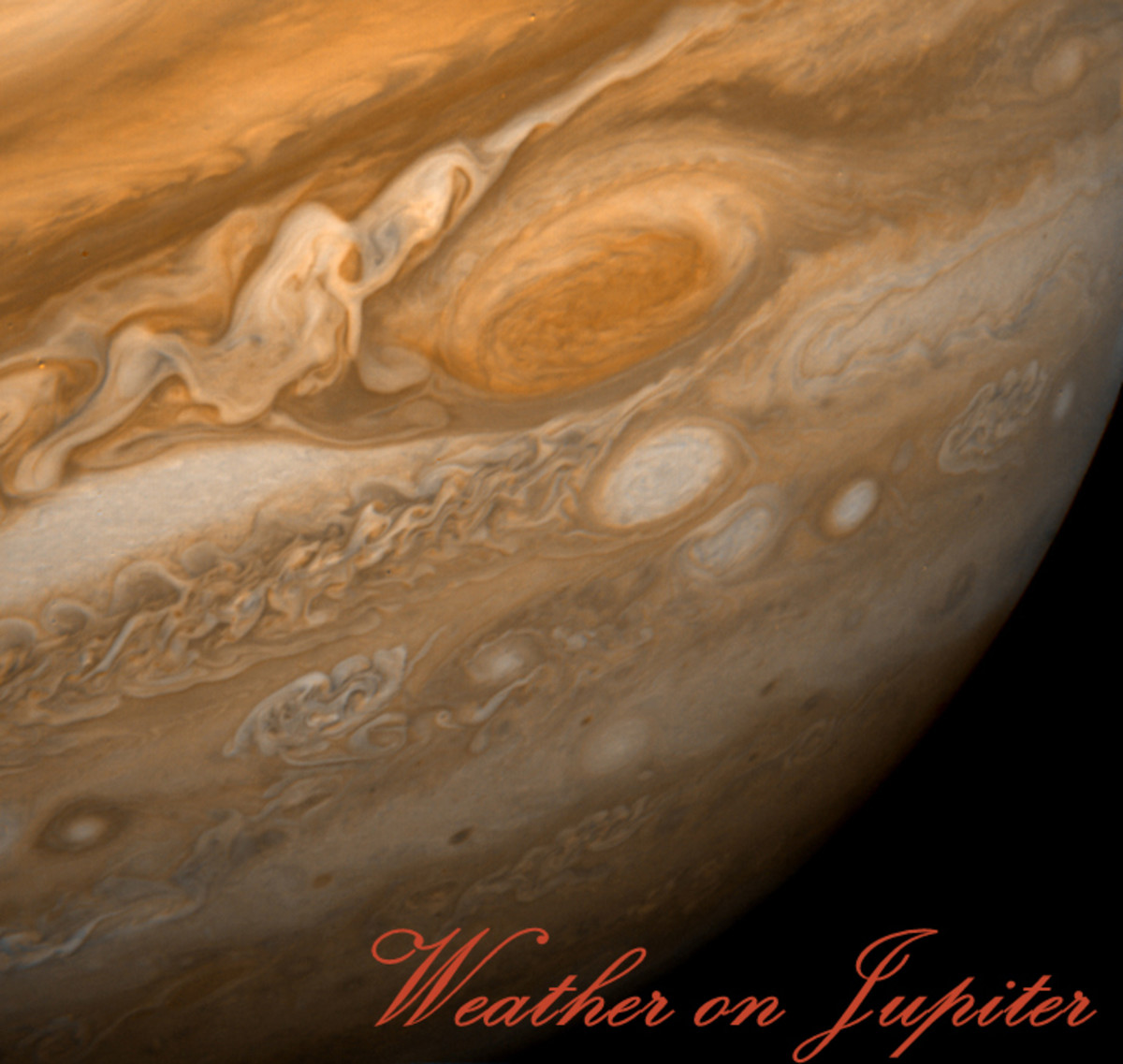 The Great Red Spot and surrounding weather on Jupiter, captured in all their fury by Voyager 1 on Feb. 25, 1979. The spacecraft was 5.7 million miles from Jupiter.