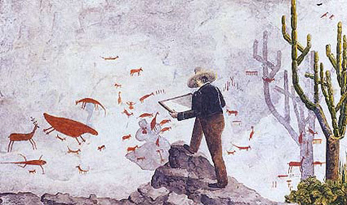 Danish naturalist, Peter Wilhelm Lund, copying rock paintings at Lagoa Santa, Brazil. Picture by P.A. Brandts who assisted him as an illustrator