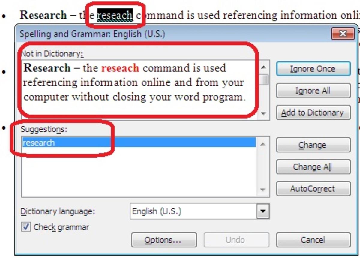 MS Word 2003 Tools Menu