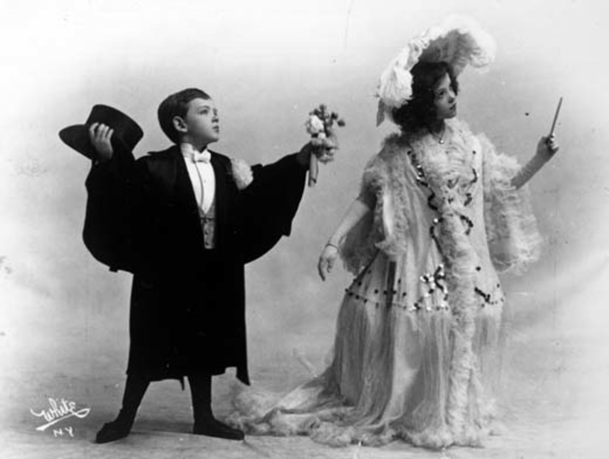 "Fred & Adele Astaire. ca. 1906. The photograph is a publicity photograph illustrating Fred Astaire and Adele Astaire in a vaudeville act entitled ""A Rainy Saturday""."
