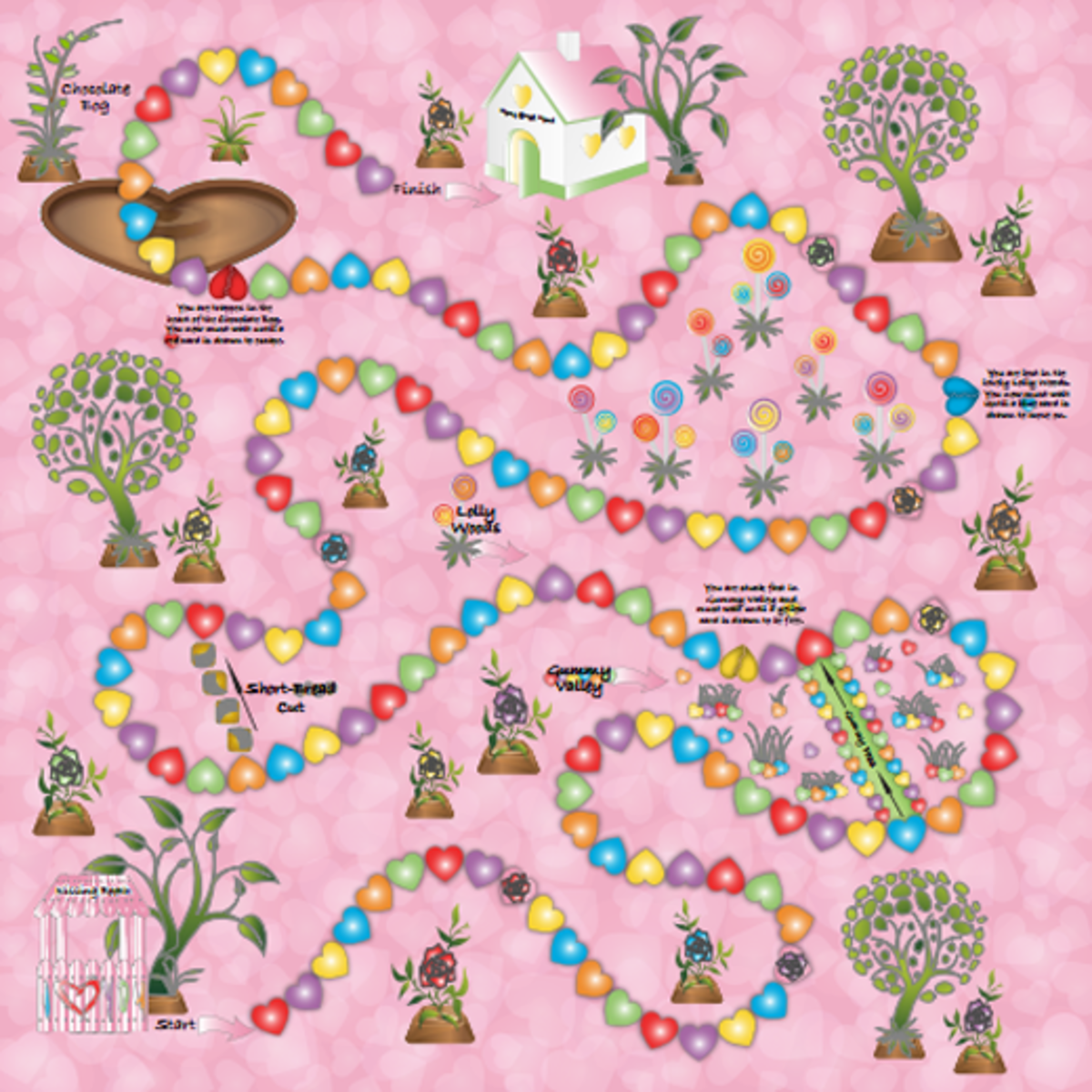 Valentine's Day-themed Candyland board.