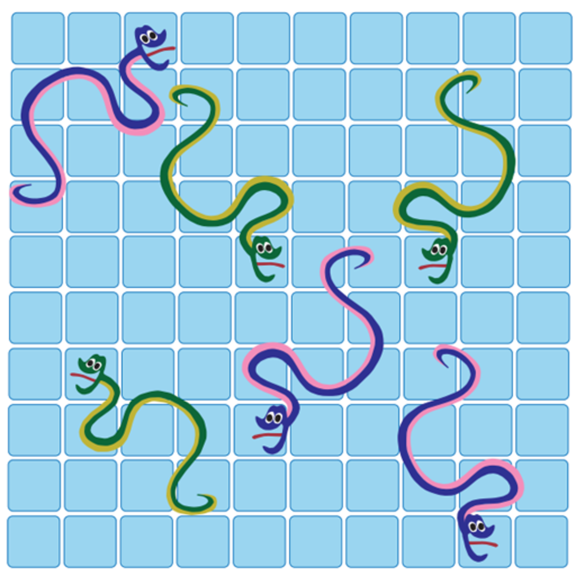 Blank Snakes and Ladders template, with different colored snakes instead of ladders.