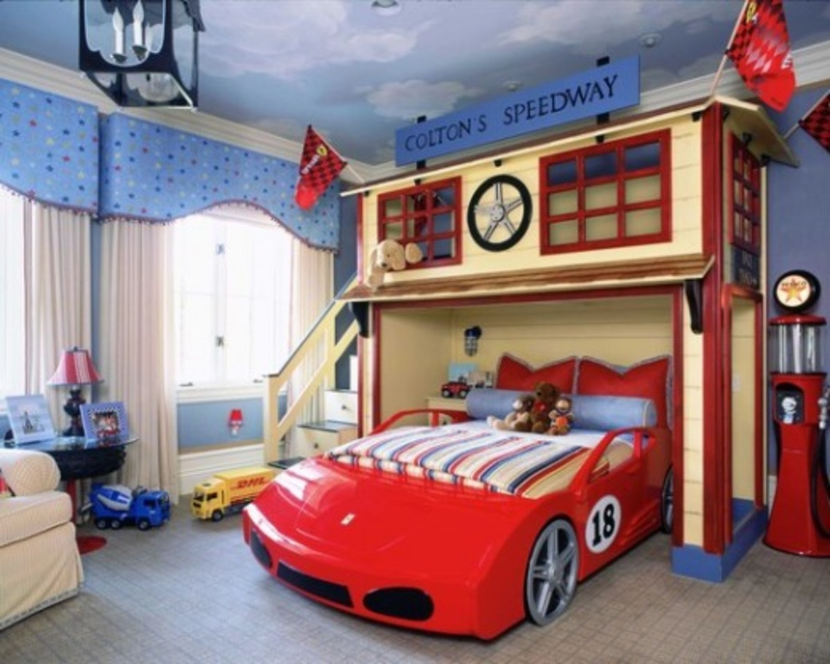 This room it nuts! The car bed is parked inside the kids very own garage/play loft. Just Awesome!