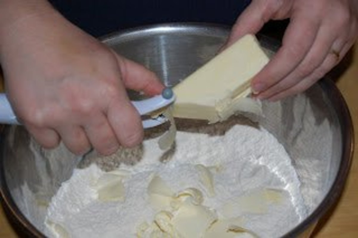 Using a peeler to slice cold butter will help make mixing your crust ingredients easier.