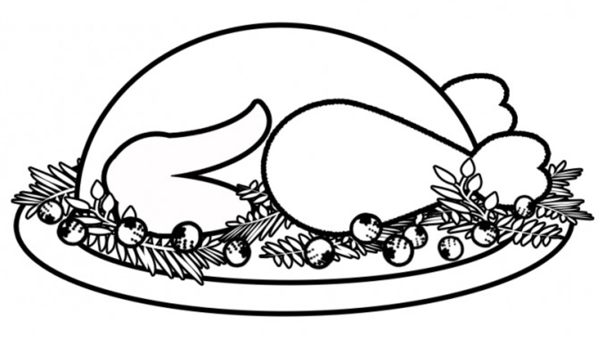 Small Turkey Dinner Coloring Page