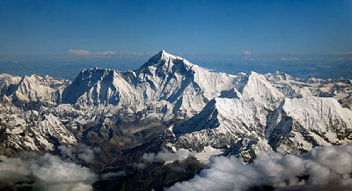 Aerial view of Mount Everest from the south.