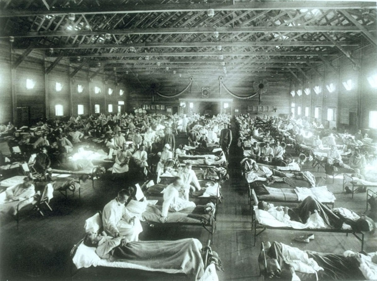 The Spanish flu affected an estimated 500 million people in 1918-1919. This is a battalion of soldiers from Fort Riley, KS, all sick with the flu.