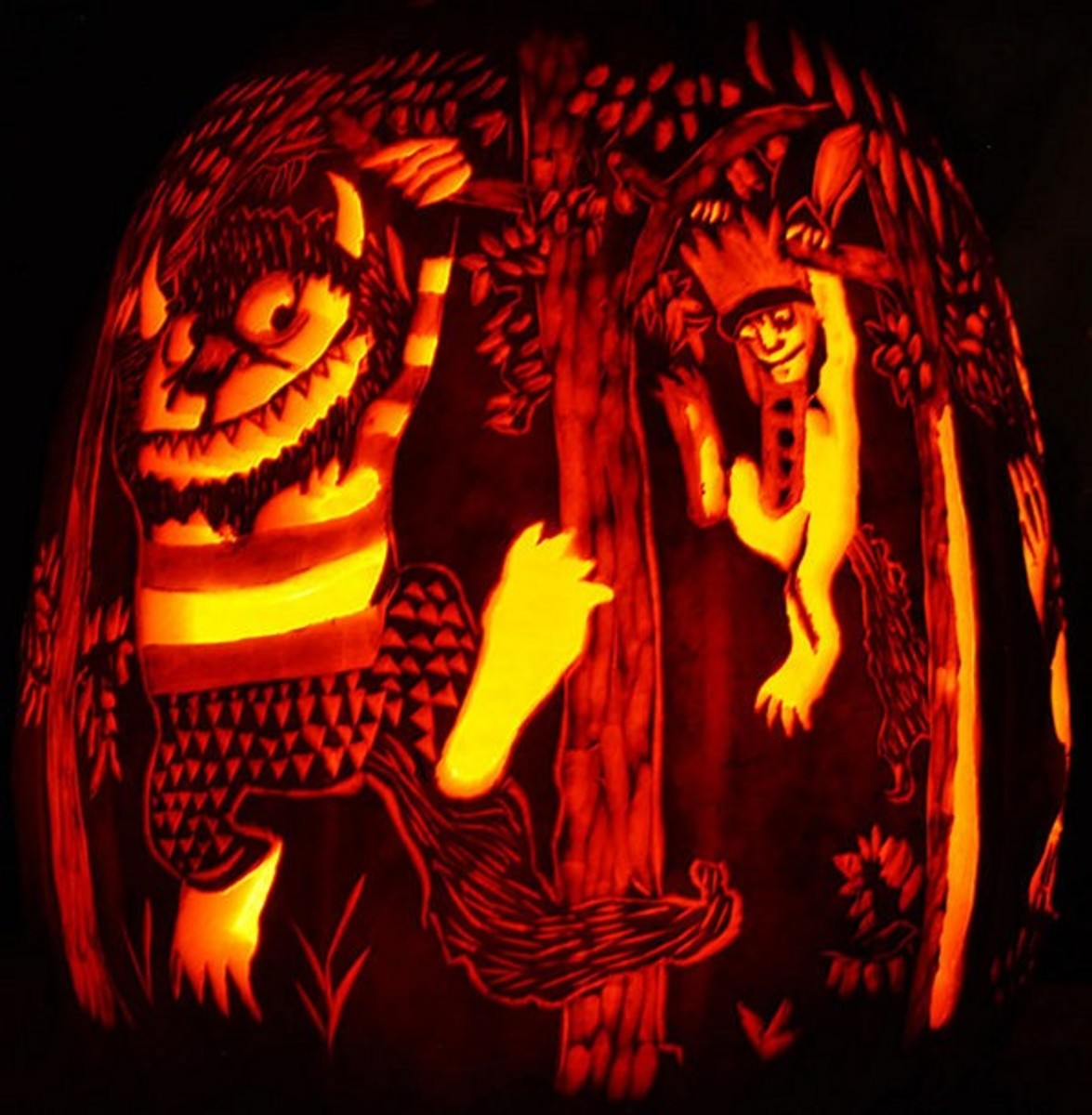 26 Amazing Halloween Carved Pumpkins Plus Pumpkin Facts and How The Name Jack o' Lantern Came About.