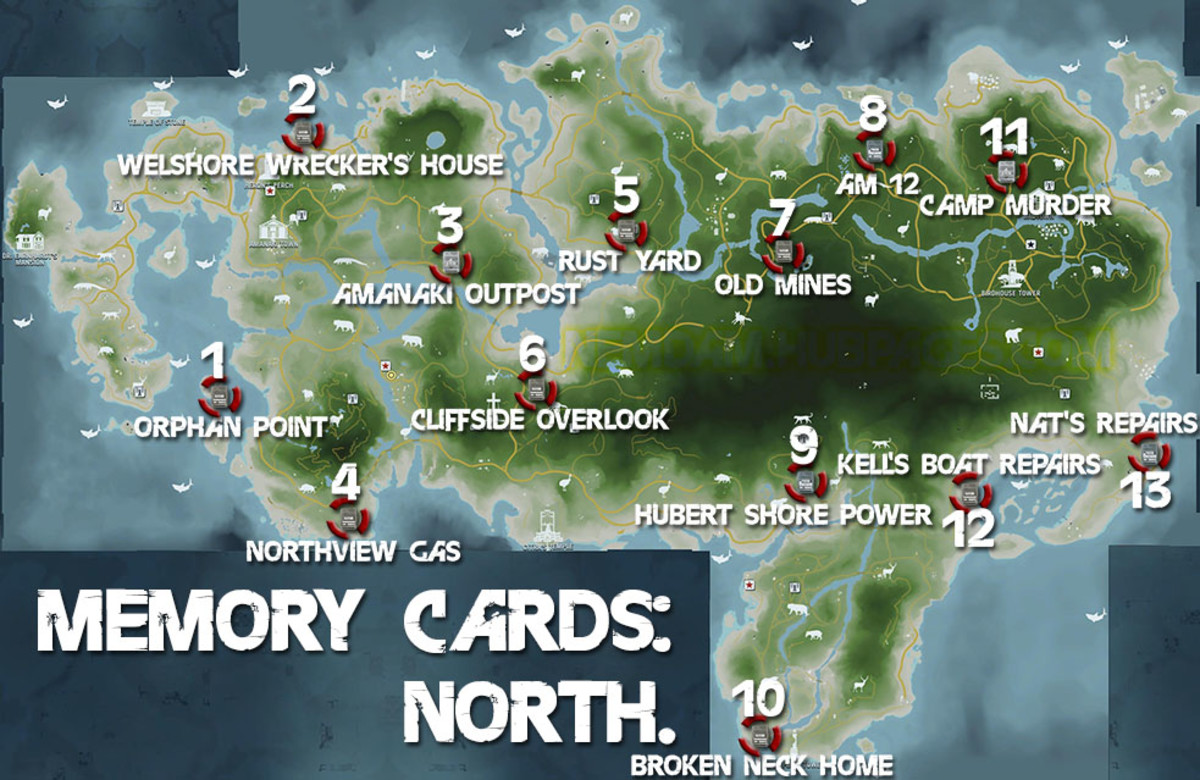 Far Cry 3 Collectibles for Memory to Spare achievement: Memory Cards 1 - 13 of 20.