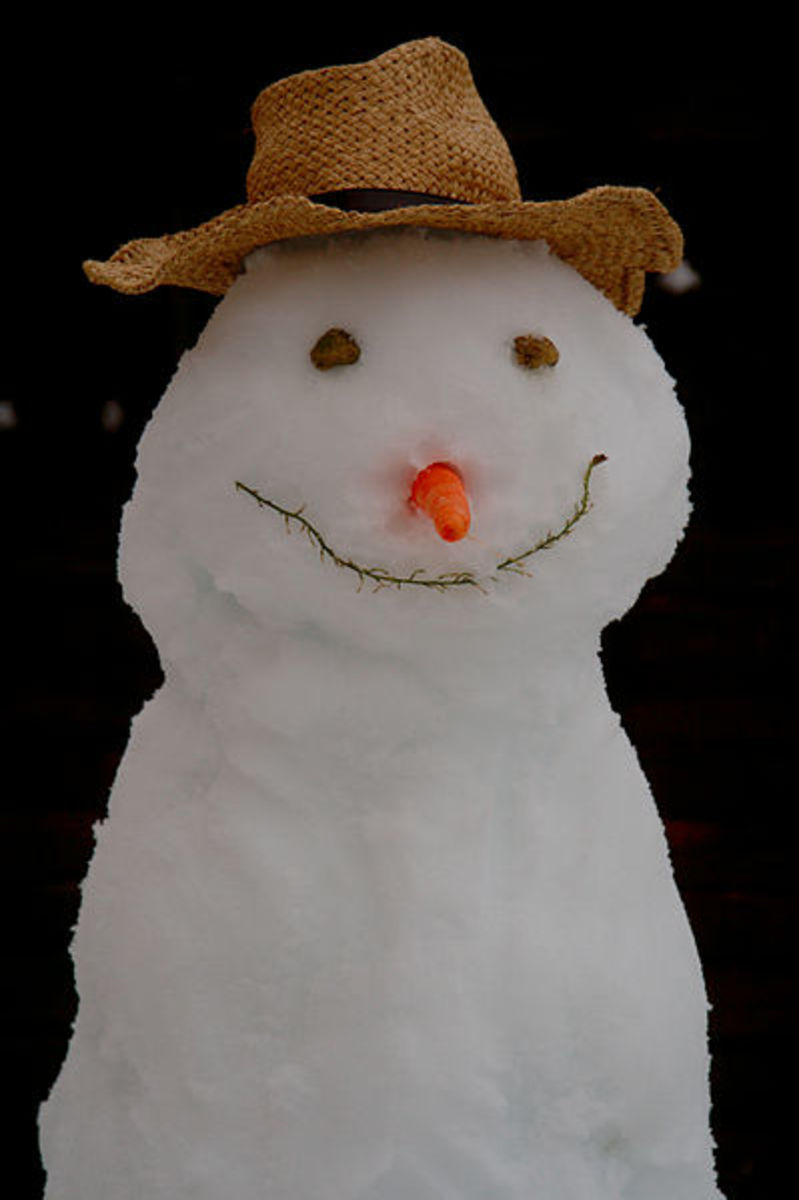 Snowmen are a sign of winter.