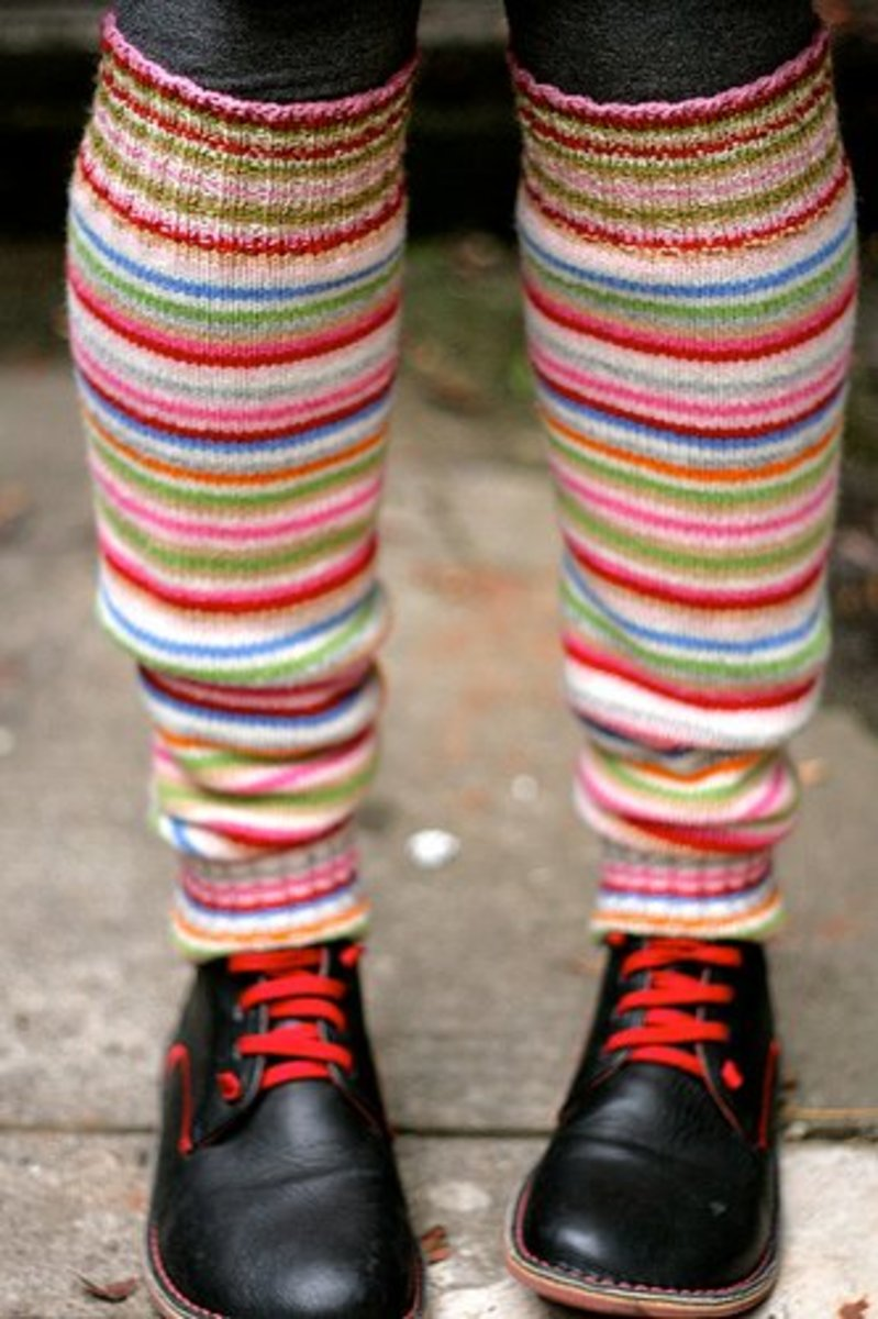 Colorful stripped knit leg warmers.