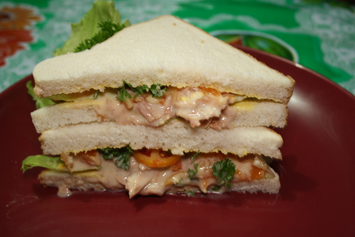 Awesome tuna sandwich with white bread.