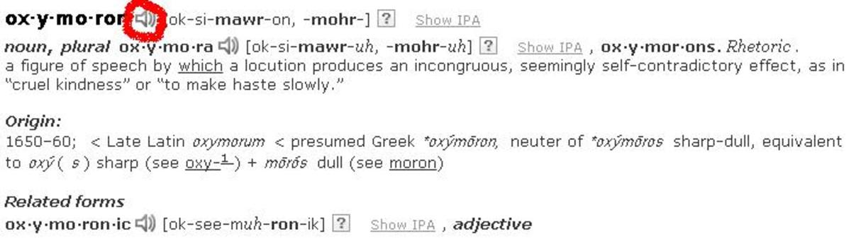 Finding the pronunciation of a word on Dictionary.com [See speaker encircled in red]