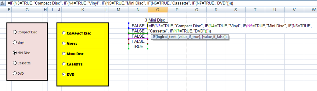 Formula changing the output from an Option (Radio) Button into more meaningful information in Excel 2007 and Excel 2010.