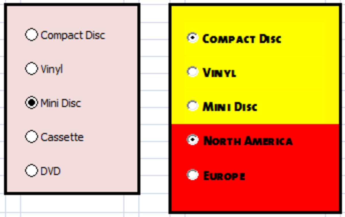 Form Controls (left) and ActiveX Controls (right) Option (Radio) buttons created using Excel 2007 and Excel 2010.
