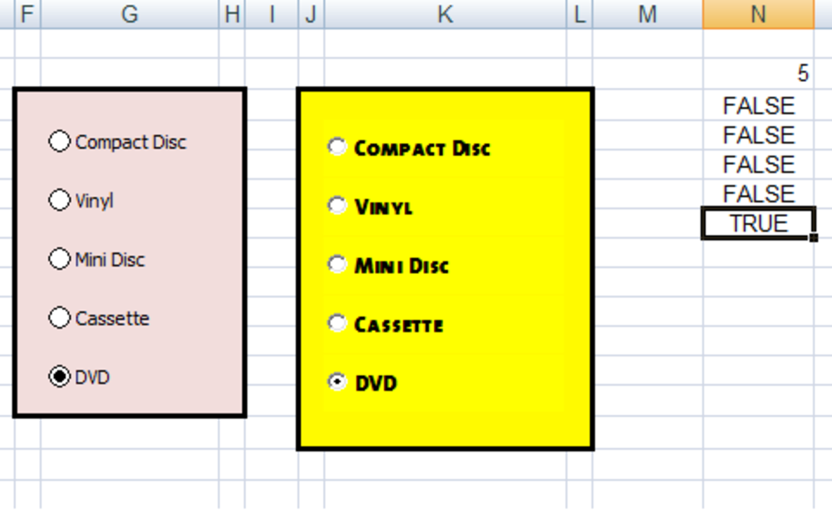 Output from our Option (Radio) buttons created in Excel 2007 and Excel 2010.