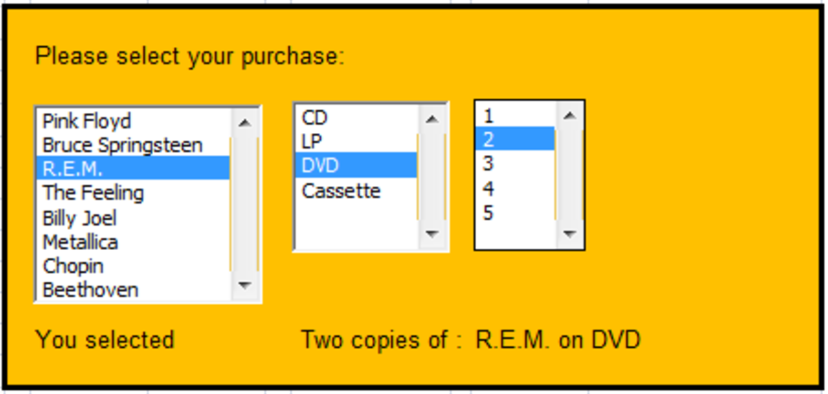 Form Control List Boxes created using Excel 2007 and Excel 2010.