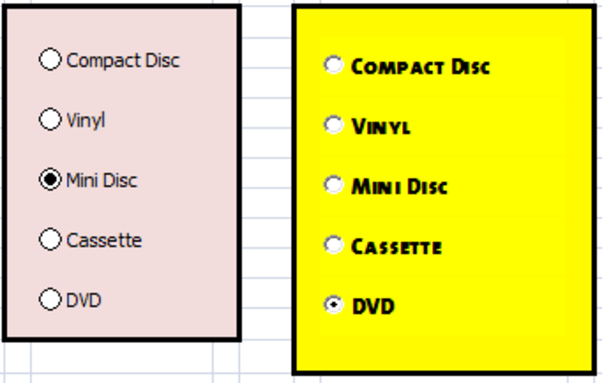 Option (Radio) Buttons created using Excel 2007 and Excel 2010.