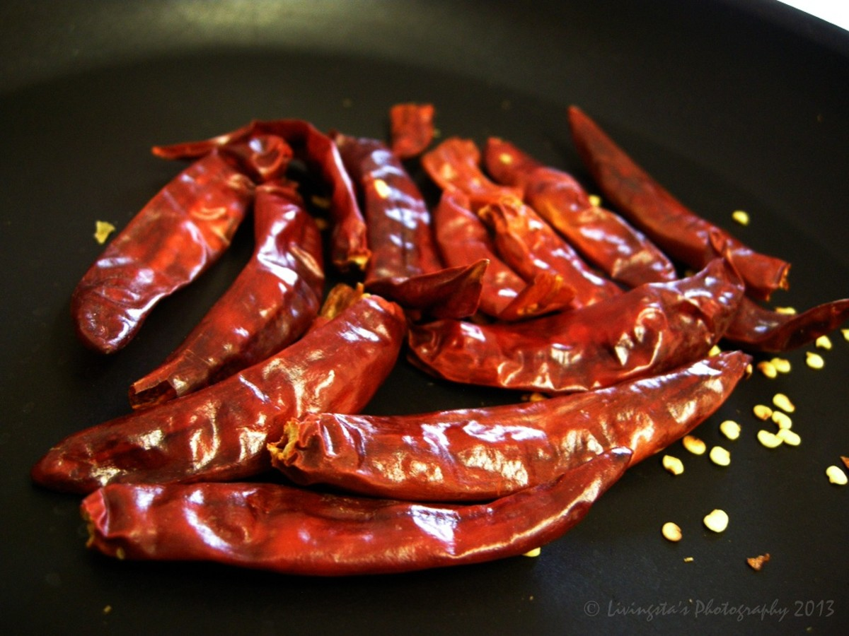 Roast dry red chilies