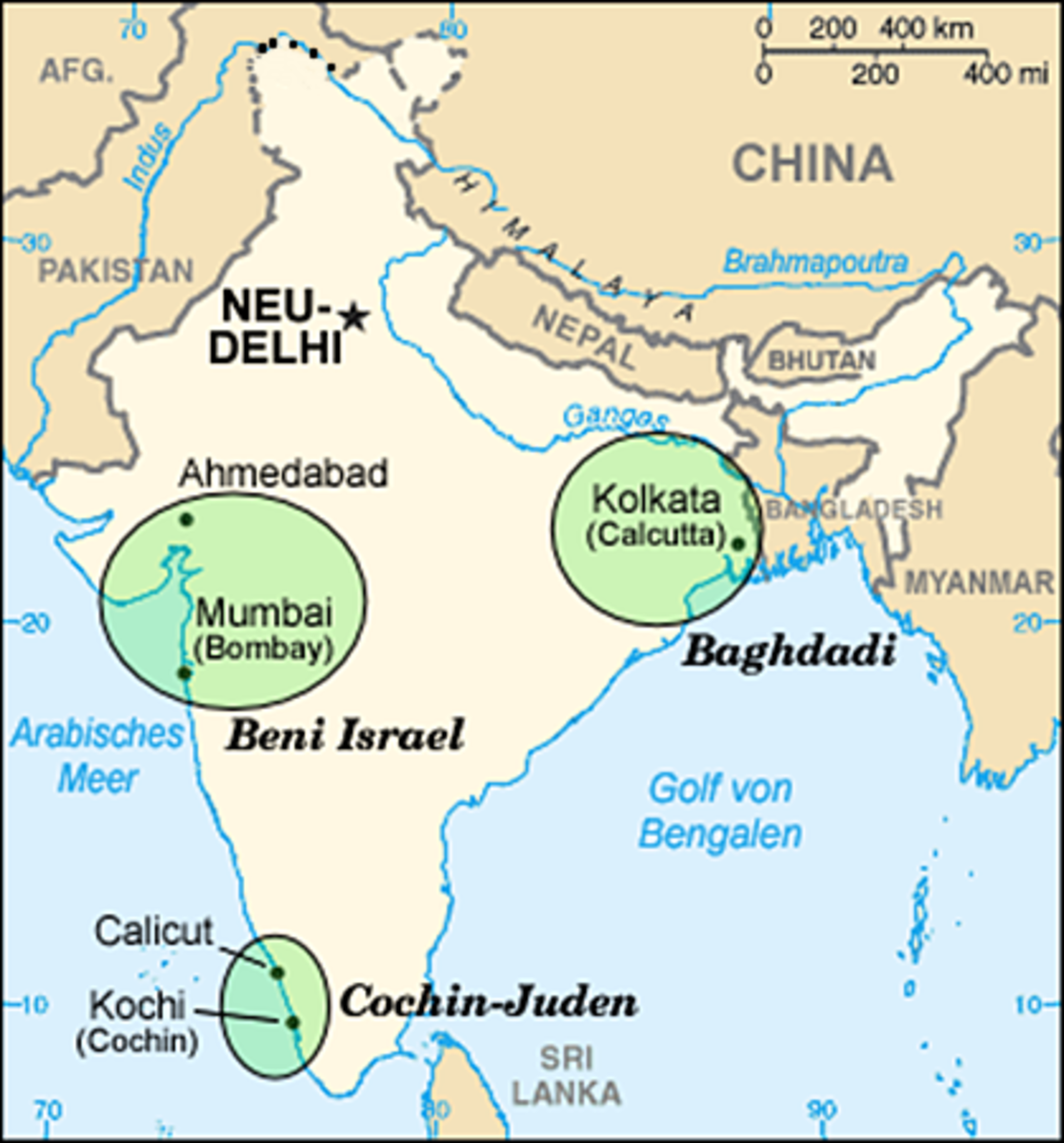 Jews in India Map