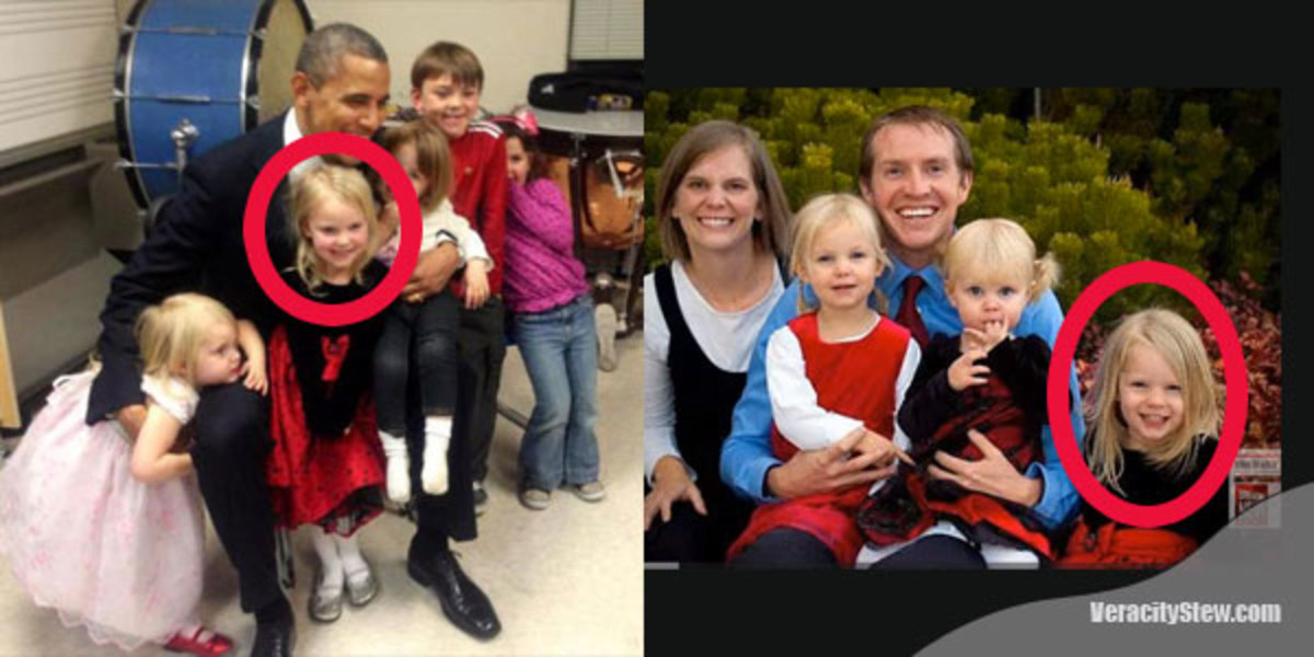 Right: Photo of President Obama with children of Sandy Hook murder victims. Left: Family of Sandy Hook murder victim (on the right).
