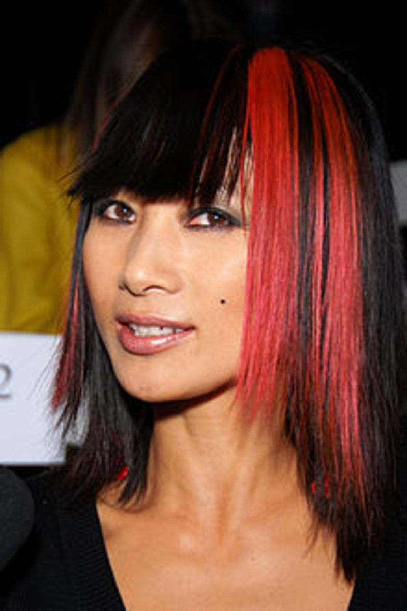 Bai Ling with Chunky Cherry Red Streaks