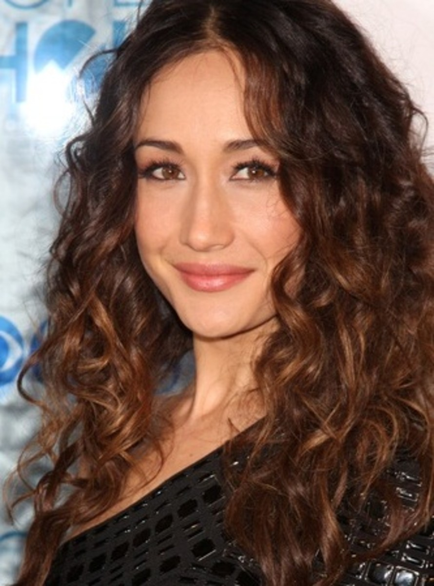 Maggie Q with Medium Golden Brown Ombre Highlights