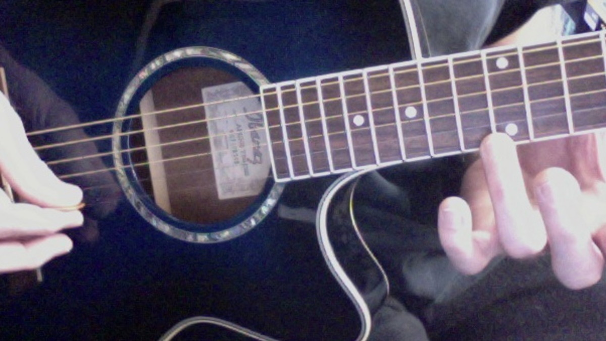 To produce harmonics: place the fret hand finger on the E string at the twelfth far fret wire. DO NOT PUSH DOWN! Pick the string and quickly release your finger. It may take some practice, but eventually, it will ring out clearly.