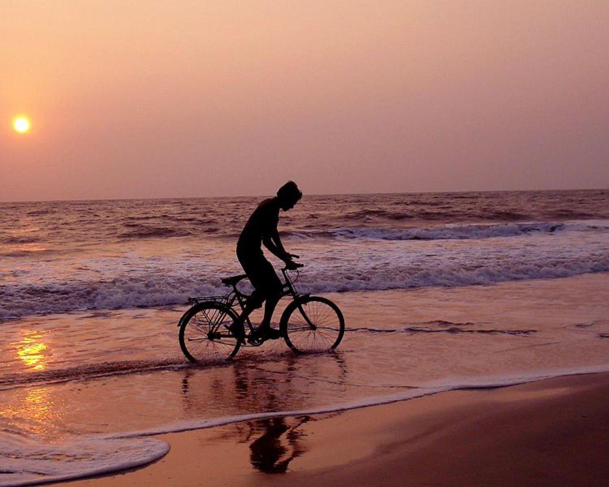 Cycling at Fabulous Kizhunna Beach, Kerala