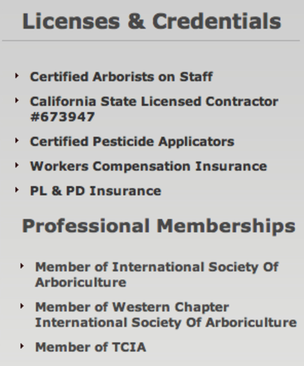 Found on the webpage of a tree trimmer, listing their credentials and license number.