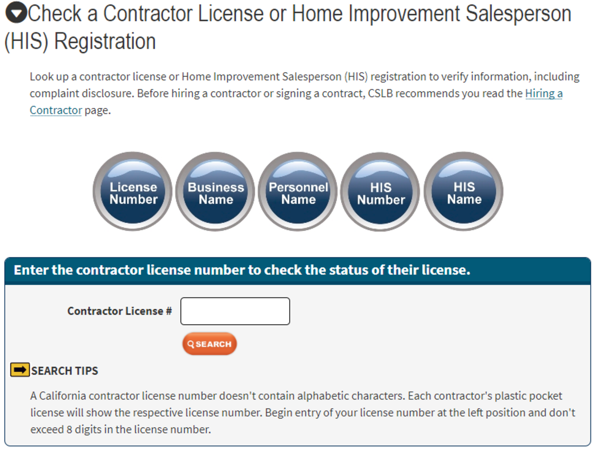 A government webpage that has a variety of ways to check the license of a contractor, which includes tree trimmers.