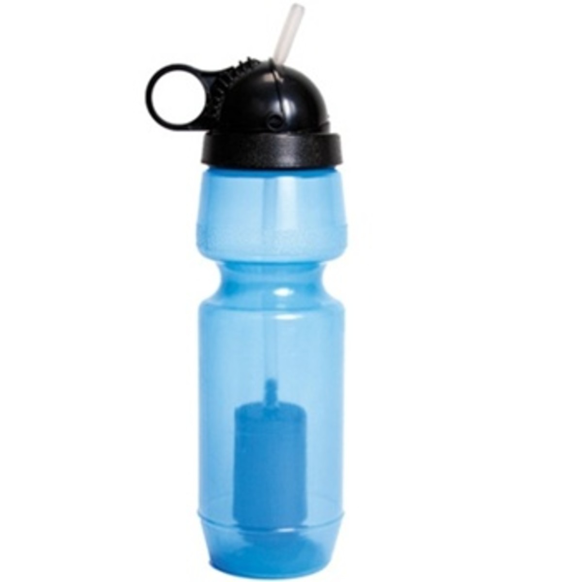 A portable water purifier bottle removes polutants and contaminants.