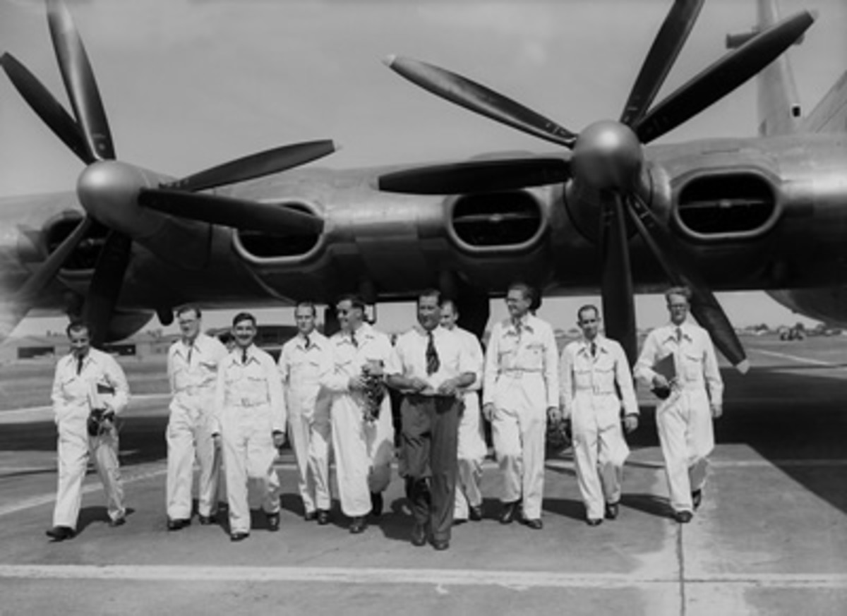 The flight crew and A.J. Pegg, the test pilot