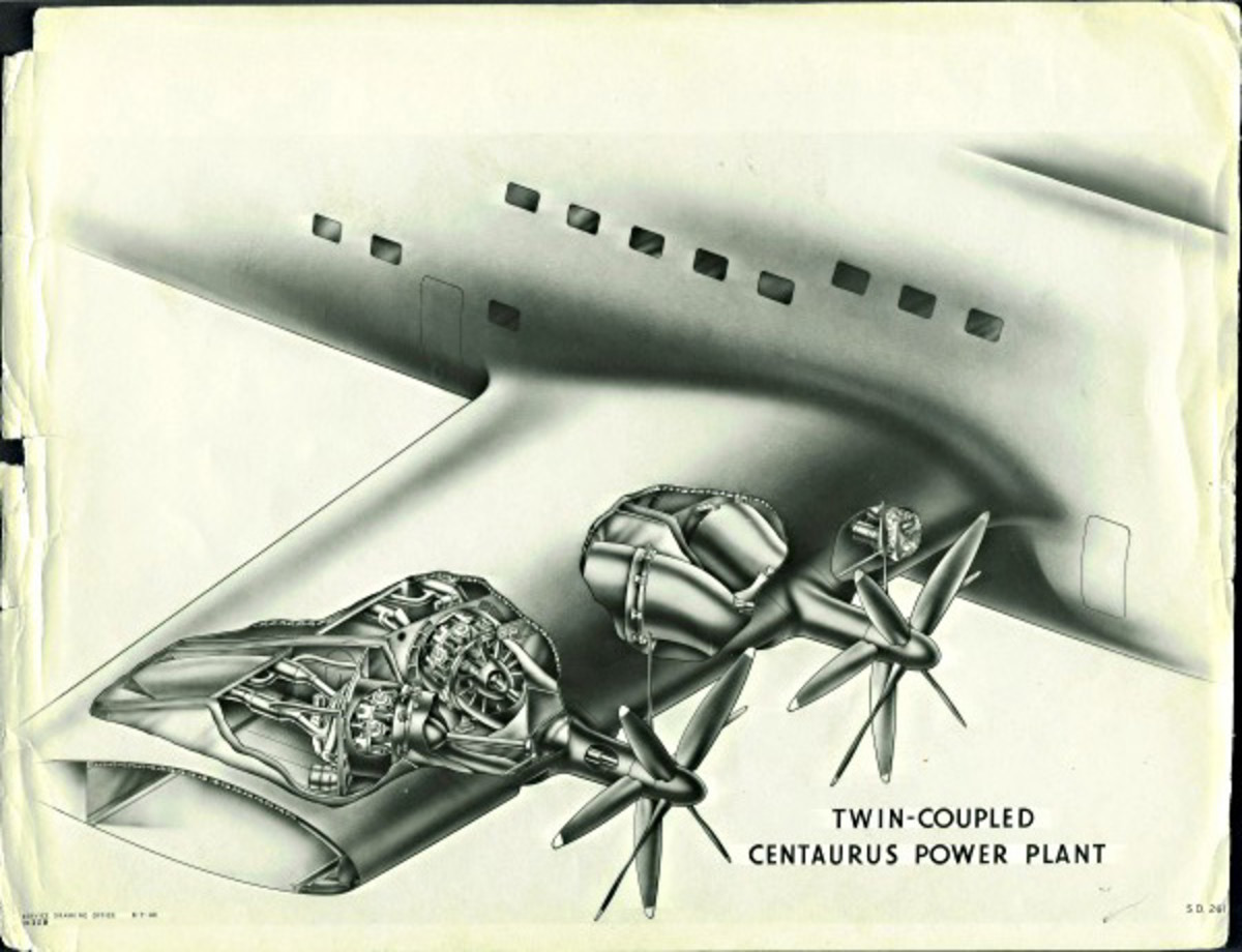 A unique design feature at the time for the Bristol Brabazon, two engines coupled to shafts to turn contra- rotating 3- blade propellers.  Note: This an earlier design with four blades instead of the three blades for the final design.