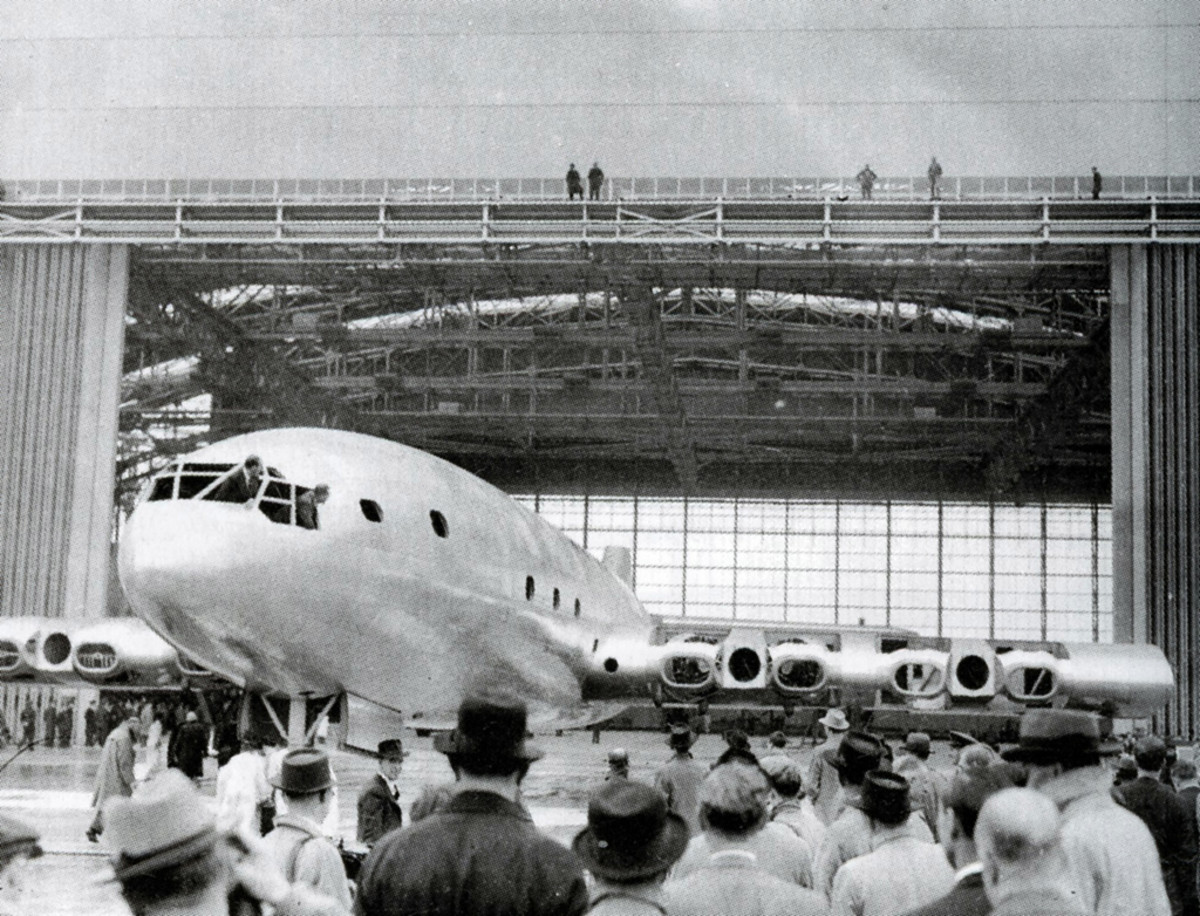 Partially completed Bristol Brabazon. You can see the nacelles on the wing for four of the eight engines and openings for the propellers.