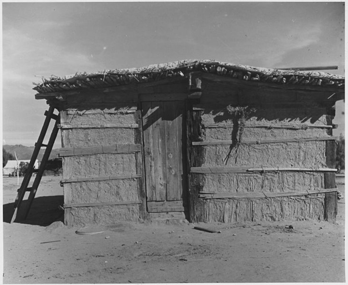 "Cortaro Farms in Pinal County; Yaqui Indian ""Jacal"". Agricultural workers lived in huts made of mud, cactus, and mesquite timbers. Old dwellings photographed in 1940, but in use for decades."